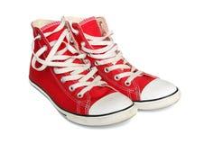 Chaussures de gymnastique rouges. Images stock