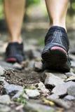 Chaussures de marche et de sport de journal photographie stock