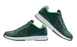 Chaussures de marche vertes de sport d'isolement Image libre de droits
