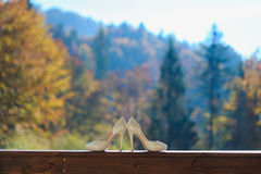 Chaussures de mariage sur le fond du paysage de montagne Photographie stock libre de droits