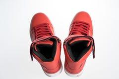 Chaussures de mode avec le shoestring Espadrille rouge et dentelle d'isolement sur le blanc image stock