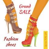 Chaussures de mode Tract de vente illustration stock