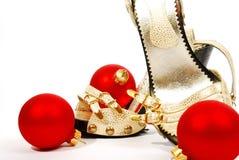 chaussures de Noël de billes Photos stock