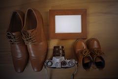 Chaussures de parent et d'enfant Photos stock
