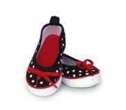 Chaussures de point de polka de bébé de toile Photos libres de droits