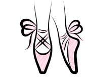 Chaussures de pointe d'aquarelle avec l'arc de ruban OIN tirée par la main d'oeuvre d'art Images libres de droits