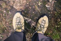 Chaussures de randonneur sur le sentier piéton d'automne de saleté dans la forêt sur augmenter le voyage Image stock