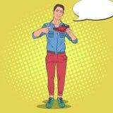 Chaussures de sport d'Art Smiling Man Advertising New de bruit Type avec des espadrilles illustration stock