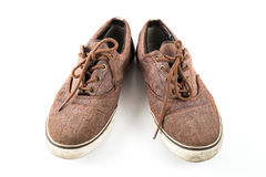 Chaussures de sport sans lacets de Brown sur le blanc d'isolement Photo stock