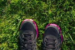Chaussures de sport sur les pieds femelles sur l'herbe verte Chaussures de course de plan rapproché Photographie stock libre de droits