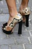 Chaussures de talons hauts portées par un homme Images libres de droits