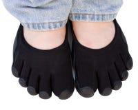 Chaussures de tep noires d'isolement sur le blanc Photos libres de droits