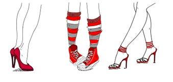 Chaussures dernier cri, santals, espadrilles illustration stock
