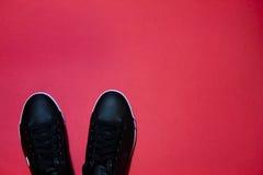 Chaussures dernier cri sur le fond rouge Image stock