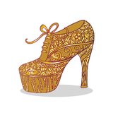 Chaussures du ` s de femmes avec l'ornement floral Photo libre de droits