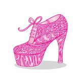 Chaussures du ` s de femmes avec l'ornement floral Images libres de droits
