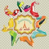Chaussures du talon haut des femmes colorées de mode. Photos libres de droits