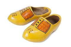 Chaussures en bois d'isolement sur le blanc Image stock