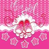 Chaussures en caoutchouc d'enfants de Dard de vacances sur le fond rose Images libres de droits