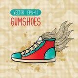 Chaussures en caoutchouc de hippie de griffonnage Photo stock