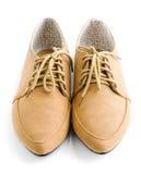 Chaussures en cuir brunes occasionnelles de dame Photos stock