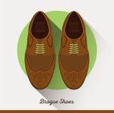 Chaussures en cuir classiques de brogue de vecteur Homme d'affaires Photo stock
