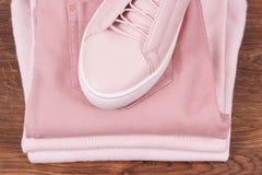Chaussures en cuir féminines et habillement sur les conseils rustiques photographie stock