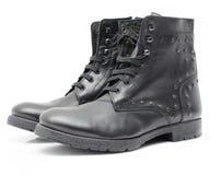 Chaussures en cuir sur le fond blanc Image libre de droits