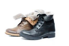 Chaussures en cuir sur le fond blanc Images libres de droits