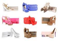 Chaussures et collection magnifiques de sacs d'embrayage Photos stock