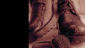Chaussures et crème de récurage sur le plancher Nettoyez les chaussures pour la marche photo stock