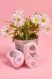 Chaussures et fleurs de bébé photo libre de droits