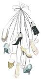 Chaussures et pattes dans un groupe illustration stock