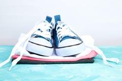 Chaussures et pièce en t femelles d'espadrilles Photographie stock libre de droits