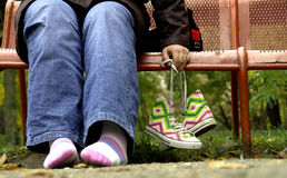 Chaussures et pieds Photographie stock