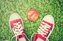 Chaussures et pomme de sports sur l'herbe verte Photos stock
