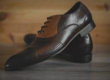 Chaussures exécutives en cuir de Brown image libre de droits