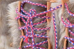 Chaussures faites main de sami traditionnel de fourrure de renne image libre de droits