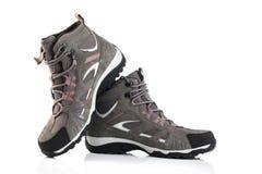 Chaussures femelles grises d'isolement sur le fond blanc Photos stock