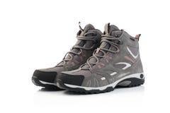 Chaussures femelles grises d'isolement sur le fond blanc Photo stock