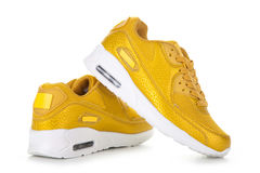Chaussures jaunes de sport Photographie stock libre de droits