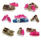 Chaussures masculines et femelles, ensemble Image libre de droits