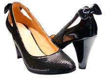 chaussures neuves femelles noires Photos libres de droits