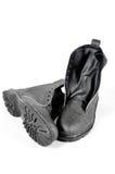 Chaussures noires avec le fond d'isolement Photographie stock