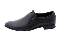 Chaussures noires d'hommes de cuir verni d'isolement sur le blanc Images libres de droits