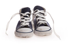 Chaussures noires de cru sur le fond blanc Photographie stock