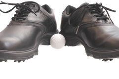 Chaussures noires de golf Photo stock
