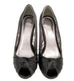 chaussures noires de satin Photo libre de droits
