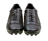 Chaussures noires de sport d'isolement sur le blanc Image stock