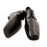 Chaussures noires du smoking des hommes Images stock